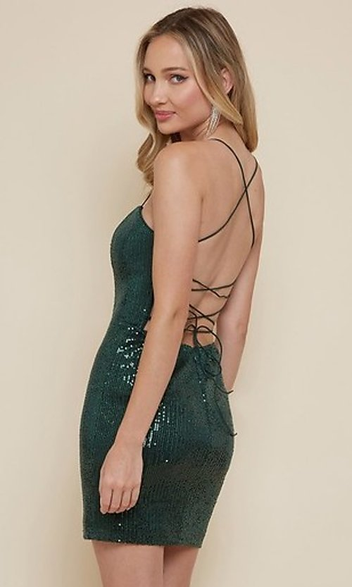 Image of sequin short homecoming dress with strappy back. Style: FG-MAN-21-MF2815 Back Image