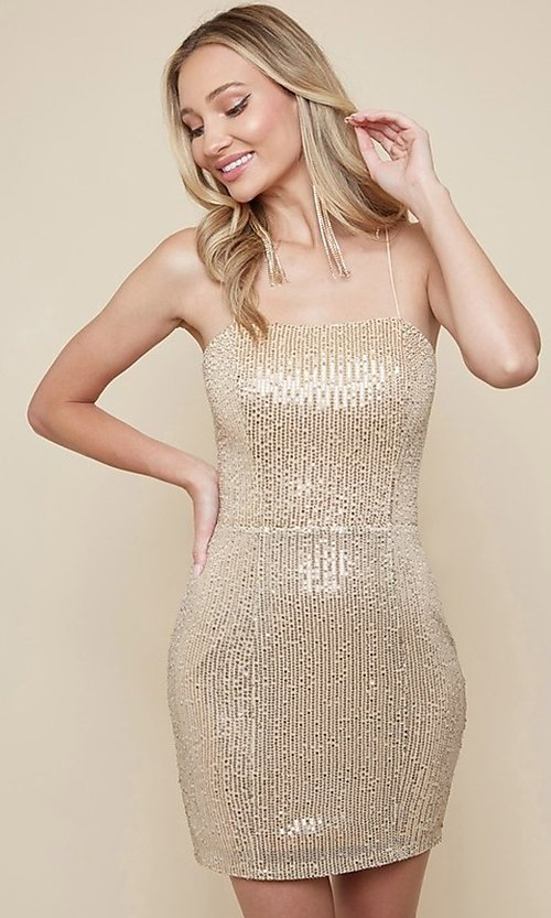 Image of sequin short homecoming dress with strappy back. Style: FG-MAN-21-MF2815 Detail Image 1