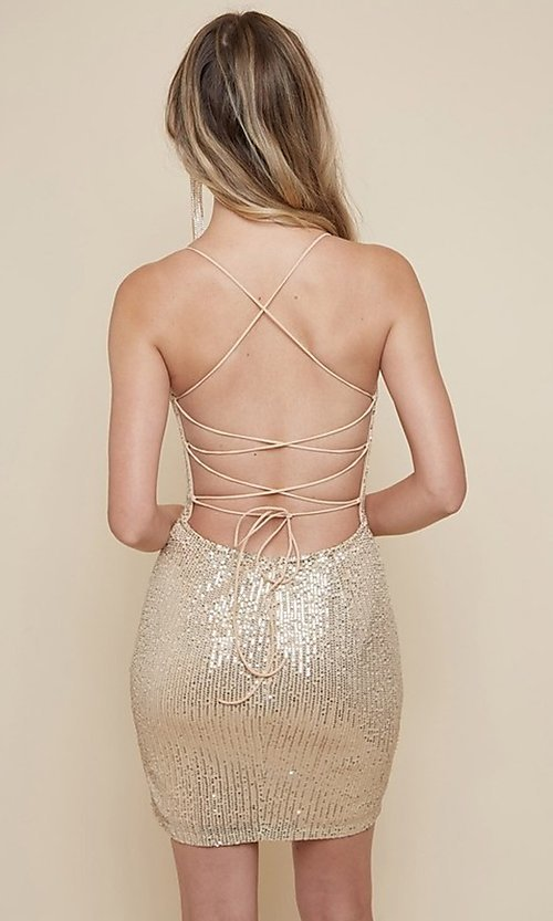 Image of sequin short homecoming dress with strappy back. Style: FG-MAN-21-MF2815 Detail Image 2