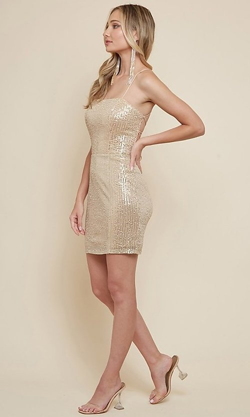 Image of sequin short homecoming dress with strappy back. Style: FG-MAN-21-MF2815 Detail Image 3