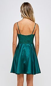 Image of emerald green short a-line homecoming dress. Style: FG-MAN-21-MF2217 Back Image