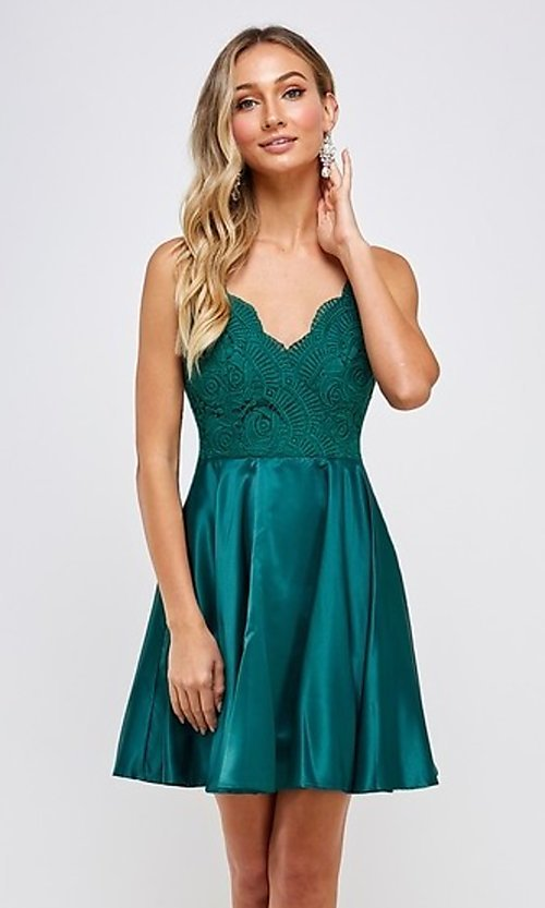 Image of emerald green short a-line homecoming dress. Style: FG-MAN-21-MF2217 Front Image