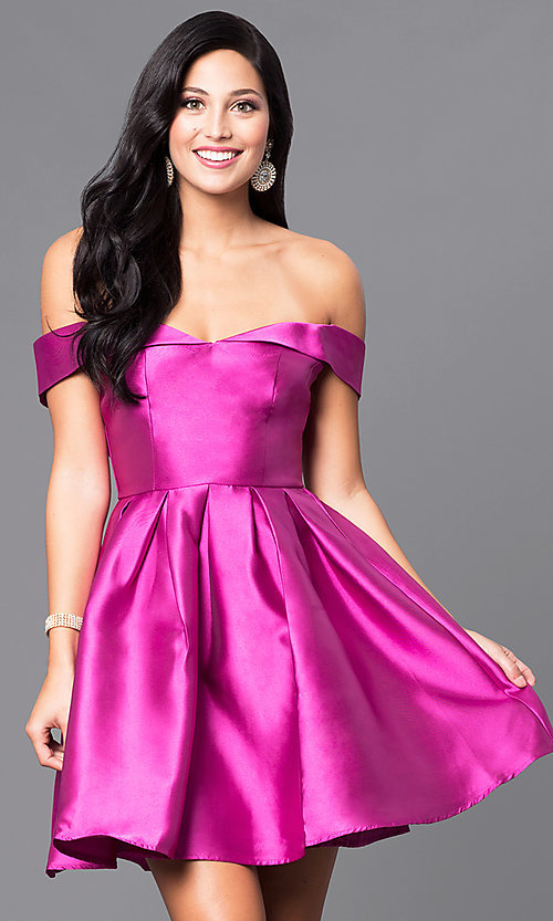 Image of magenta pink off-the-shoulder homecoming dress. Style: FG-MAN-21-MF24049 Front Image