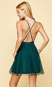 Image of emerald green lace-trimmed short homecoming dress. Style: FG-MAN-21-MM2850 Back Image