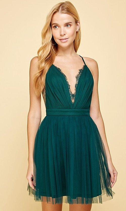 Image of emerald green lace-trimmed short homecoming dress. Style: FG-MAN-21-MM2850 Front Image