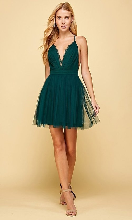 Image of emerald green lace-trimmed short homecoming dress. Style: FG-MAN-21-MM2850 Detail Image 1