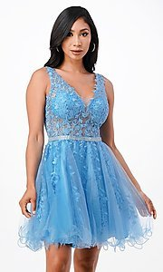 Image of sheer-bodice short embroidered homecoming dress. Style: LAS-LSC-21-25981 Detail Image 1