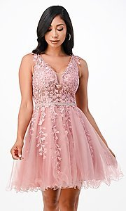 Image of sheer-bodice short embroidered homecoming dress. Style: LAS-LSC-21-25981 Front Image