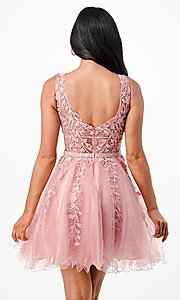 Image of sheer-bodice short embroidered homecoming dress. Style: LAS-LSC-21-25981 Back Image