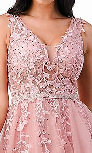 Image of sheer-bodice short embroidered homecoming dress. Style: LAS-LSC-21-25981 Detail Image 4