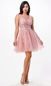Image of sheer-bodice short embroidered homecoming dress. Style: LAS-LSC-21-25981 Detail Image 5