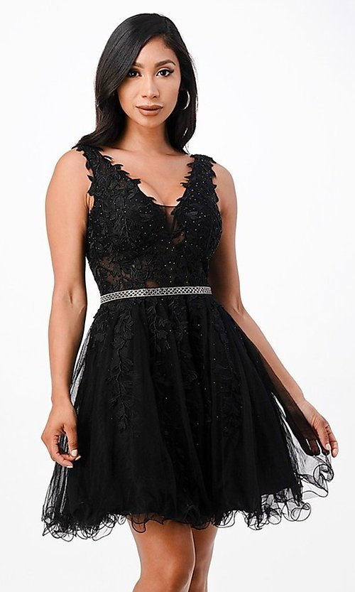 Image of sheer-bodice short embroidered homecoming dress. Style: LAS-LSC-21-25981 Detail Image 2