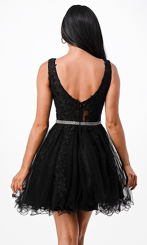 Image of sheer-bodice short embroidered homecoming dress. Style: LAS-LSC-21-25981 Detail Image 3