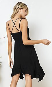 Image of double strap lace-bodice short casual party dress. Style: FG-BLB-21-30141D Back Image