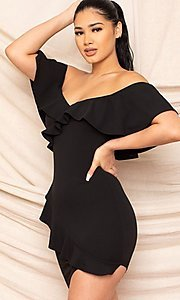 Image of ruffle off-the-shoulder short homecoming dress. Style: LAS-SY-21-ID8038APR Detail Image 1