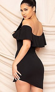 Image of ruffle off-the-shoulder short homecoming dress. Style: LAS-SY-21-ID8038APR Detail Image 2