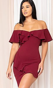 Image of ruffle off-the-shoulder short homecoming dress. Style: LAS-SY-21-ID8038APR Front Image