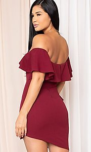 Image of ruffle off-the-shoulder short homecoming dress. Style: LAS-SY-21-ID8038APR Back Image
