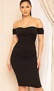 Image of midi-length off-the-shoulder semi-formal dress. Style: LAS-SY-21-ID8029SPR Detail Image 1