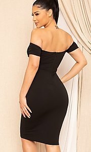 Image of midi-length off-the-shoulder semi-formal dress. Style: LAS-SY-21-ID8029SPR Detail Image 2