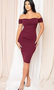 Image of midi-length off-the-shoulder semi-formal dress. Style: LAS-SY-21-ID8029SPR Detail Image 4