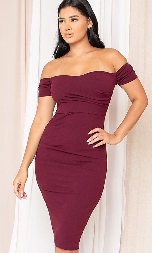 Image of midi-length off-the-shoulder semi-formal dress. Style: LAS-SY-21-ID8029SPR Front Image