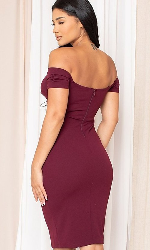 Image of midi-length off-the-shoulder semi-formal dress. Style: LAS-SY-21-ID8029SPR Back Image