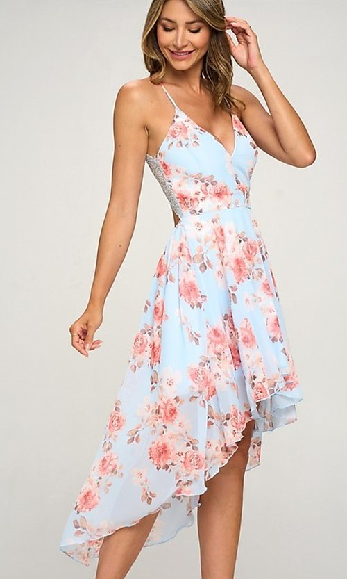 Image of high-low floral-print wedding guest dress. Style: LAS-LOV-21-MD1815F Front Image