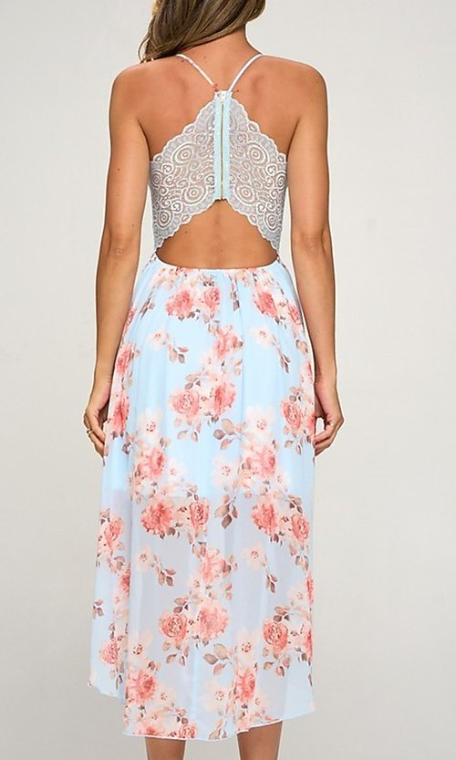 Image of high-low floral-print wedding guest dress. Style: LAS-LOV-21-MD1815F Back Image