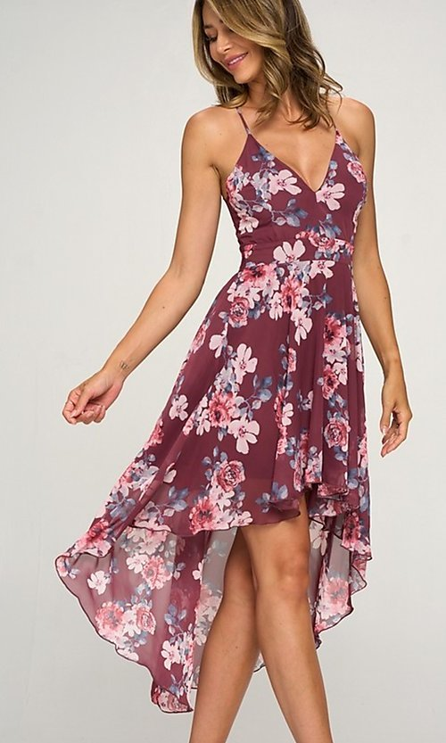 Image of high-low floral-print wedding guest dress. Style: LAS-LOV-21-MD1815F Detail Image 1
