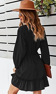 Image of neck-tie long sleeve short casual dress. Style: FG-SFN-21-DAFD3254117 Detail Image 2