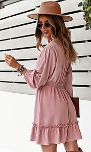 Image of neck-tie long sleeve short casual dress. Style: FG-SFN-21-DAFD3254117 Back Image