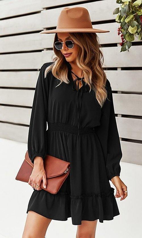 Image of neck-tie long sleeve short casual dress. Style: FG-SFN-21-DAFD3254117 Detail Image 1