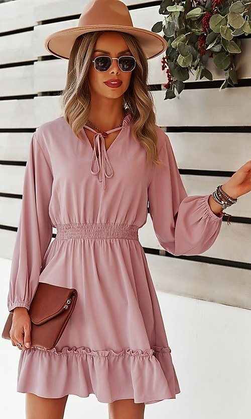 Image of neck-tie long sleeve short casual dress. Style: FG-SFN-21-DAFD3254117 Front Image