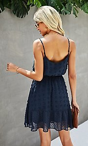 Image of waist tie short Swiss dot casual party dress. Style: FG-SFN-21-LQ323S6199 Detail Image 4