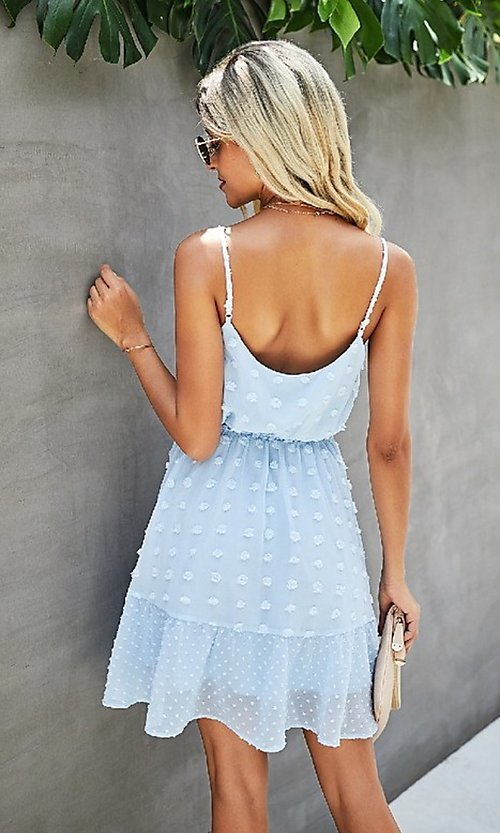 Image of waist tie short Swiss dot casual party dress. Style: FG-SFN-21-LQ323S6199 Detail Image 2