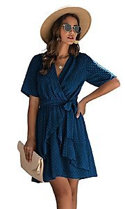 Image of Swiss dot short casual wrap dress with sleeves. Style: FG-SFN-21-SO711366 Front Image