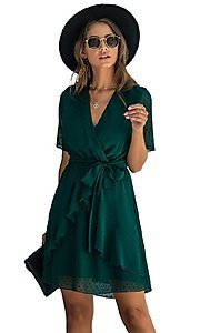 Image of Swiss dot short casual wrap dress with sleeves. Style: FG-SFN-21-SO711366 Detail Image 2