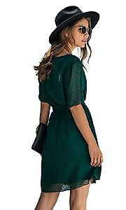 Image of Swiss dot short casual wrap dress with sleeves. Style: FG-SFN-21-SO711366 Detail Image 3