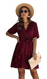Image of Swiss dot short casual wrap dress with sleeves. Style: FG-SFN-21-SO711366 Detail Image 4