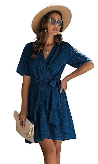 Swiss Dot Short Casual Wrap Dress with Sleeves