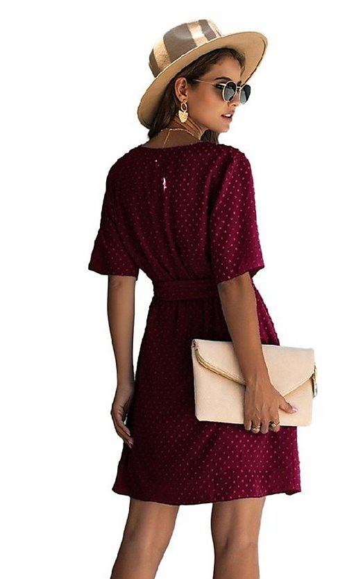Image of Swiss dot short casual wrap dress with sleeves. Style: FG-SFN-21-SO711366 Detail Image 5