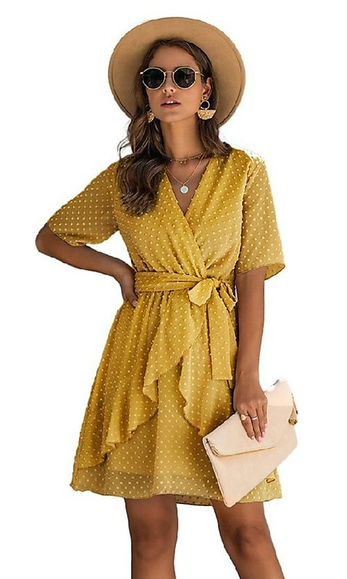 Image of Swiss dot short casual wrap dress with sleeves. Style: FG-SFN-21-SO711366 Detail Image 1