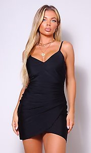 Image of cross-over short simple party dress. Style: LAS-CEF-21-CD20562 Detail Image 3