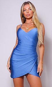 Image of cross-over short simple party dress. Style: LAS-CEF-21-CD20562 Detail Image 4