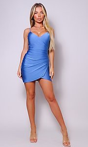 Image of cross-over short simple party dress. Style: LAS-CEF-21-CD20562 Detail Image 5