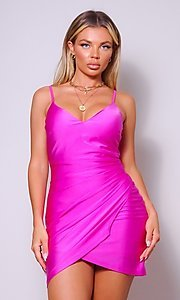 Image of cross-over short simple party dress. Style: LAS-CEF-21-CD20562 Front Image