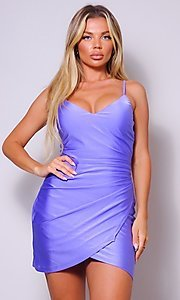 Image of cross-over short simple party dress. Style: LAS-CEF-21-CD20562 Detail Image 2
