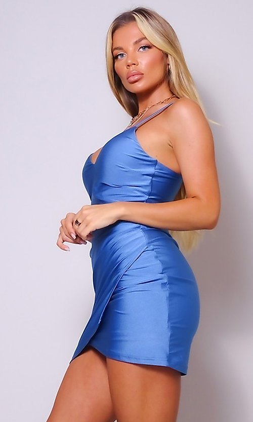 Image of cross-over short simple party dress. Style: LAS-CEF-21-CD20562 Detail Image 1