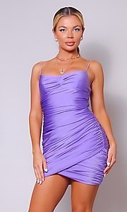 Image of short tight ruched homecoming dress. Style: LAS-CEF-21-CD20776 Front Image